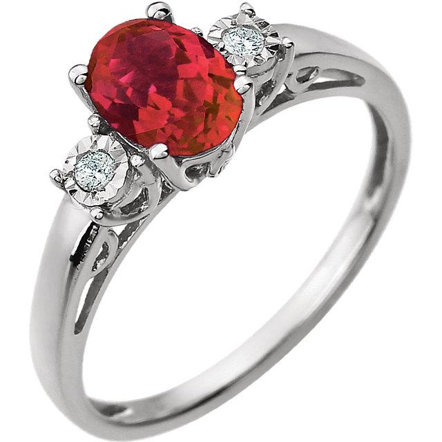 14K White Created Ruby & .04 CTW Diamond Ring
