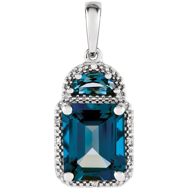14K White London Blue Topaz & .03 CTW Diamond Pendant