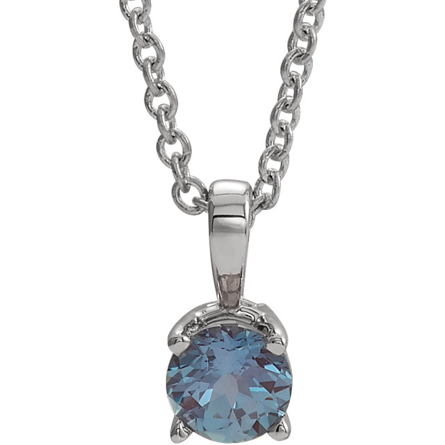 14K White 4 mm Chatham® Created Alexandrite Birthstone Necklace