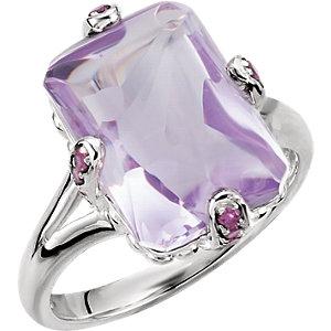 Rose De France Quartz & Brazilian Garnet Accented Ring