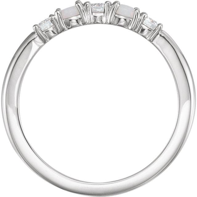 14K White Opal & 1/5 CTW Diamond Stackable Ring
