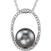 Tahitian Cultured Pearl & Diamond Necklace