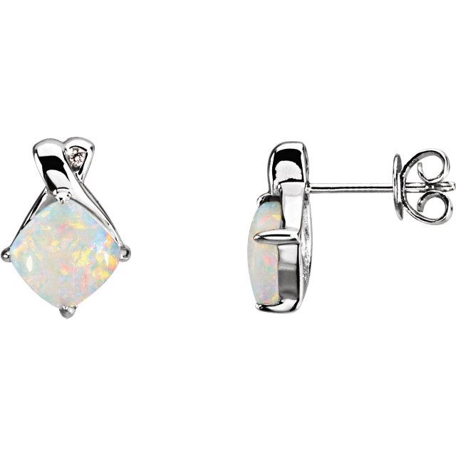 14K White Opal & .02 CTW Diamond Earrings