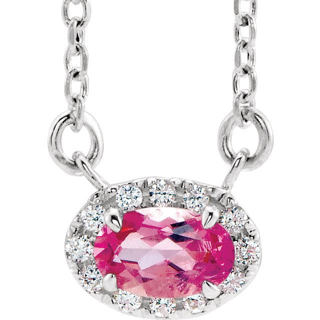 Sterling Silver Pink Tourmaline & .05 CTW Diamond 16