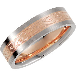 14K White & Rose Designer Band Size 10