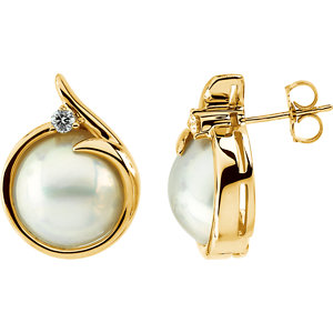 Earrings , Mabé Cultured Pearl & Diamond Earrings