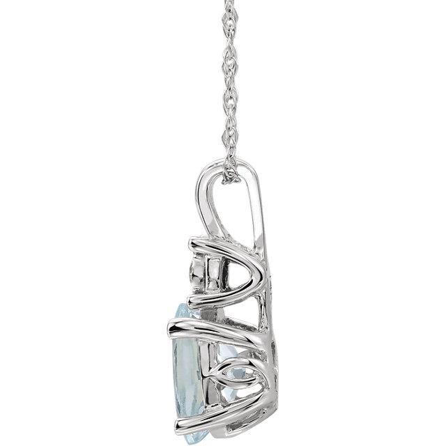 14K White Aquamarine & .02 CTW Diamond 18
