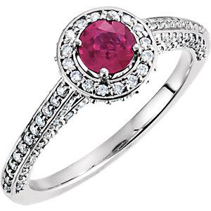 Fashion Rings , Platinum Ruby & 5/8 CTW Diamond Engagement Ring