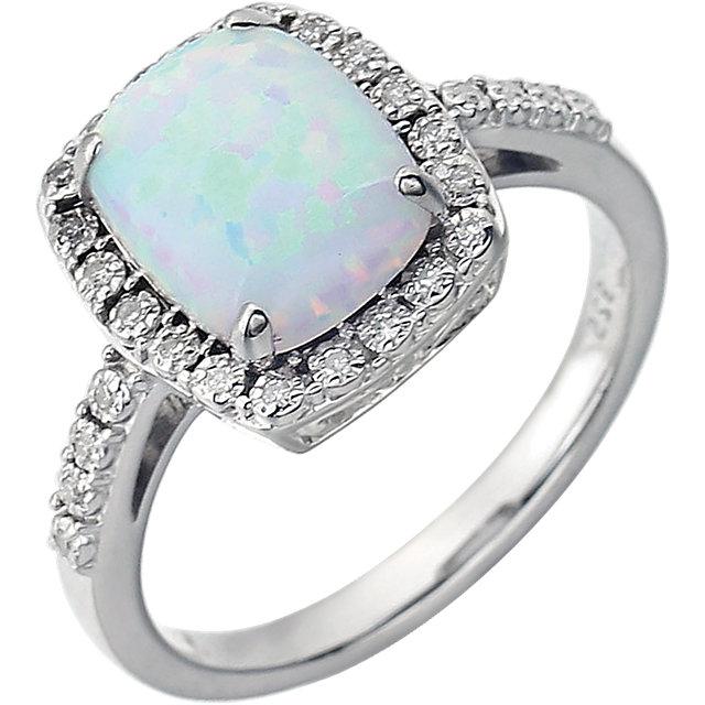 14K White Created Opal & .07 CTW Diamond Ring