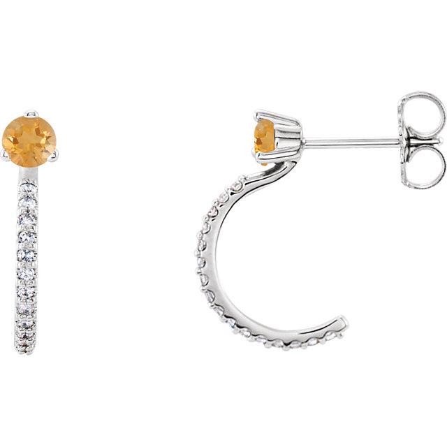 14K White Citrine & 1/6 CTW Diamond J-Hoop Earrings