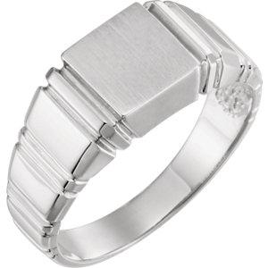 Fashion Rings , 18K X1 White 9mm Men's Square Signet Ring