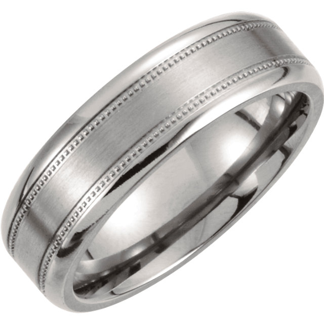 Titanium 7 mm Satin Finish Center & Polished Milgrain Band Size 7