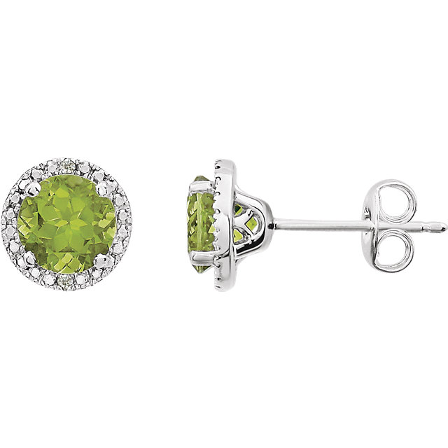 Sterling Silver Peridot & .01 CTW Diamond Earrings