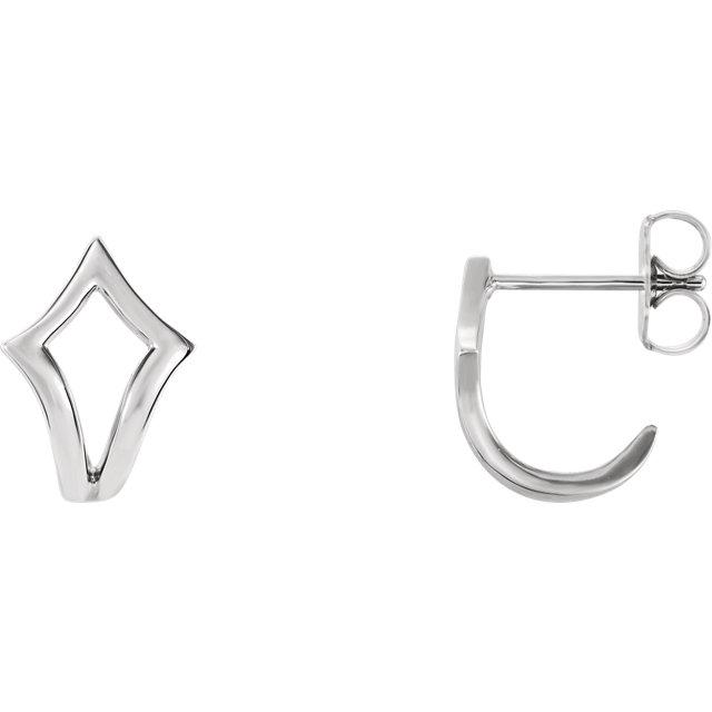 14K White Geometric J-Hoop Earrings
