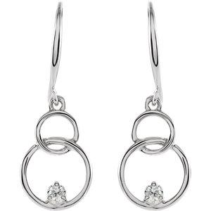 14K White .04 CTW Diamond Circle Earrings