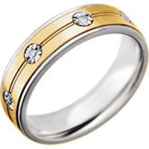 Comfort-Fit Precious Bond® Sterling & Karat Gold Band