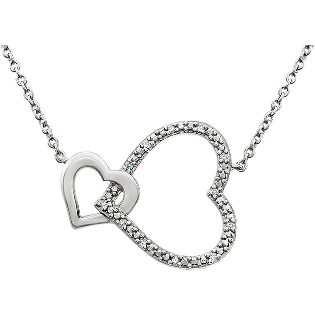 Sterling Silver .03 CTW Diamond Interlocking Heart 18