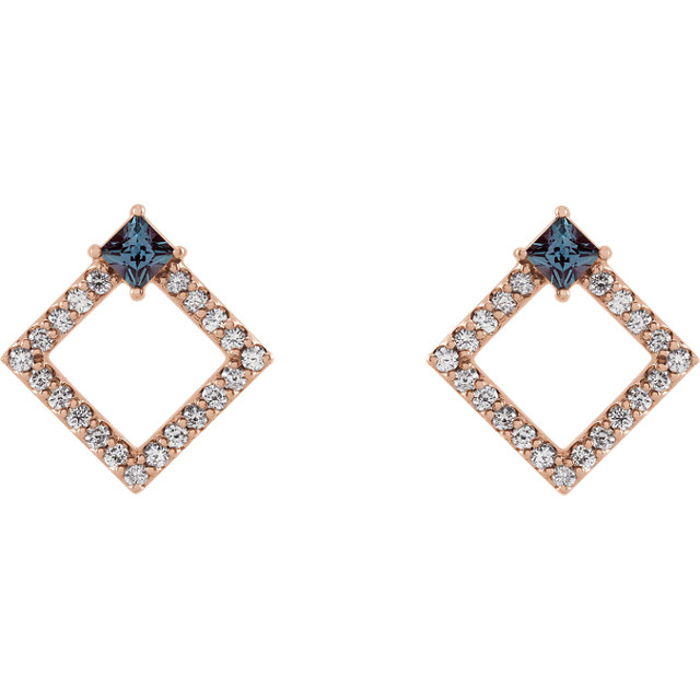 14K Rose Chatham® Created Alexandrite & 1/3 CTW Diamond Earrings