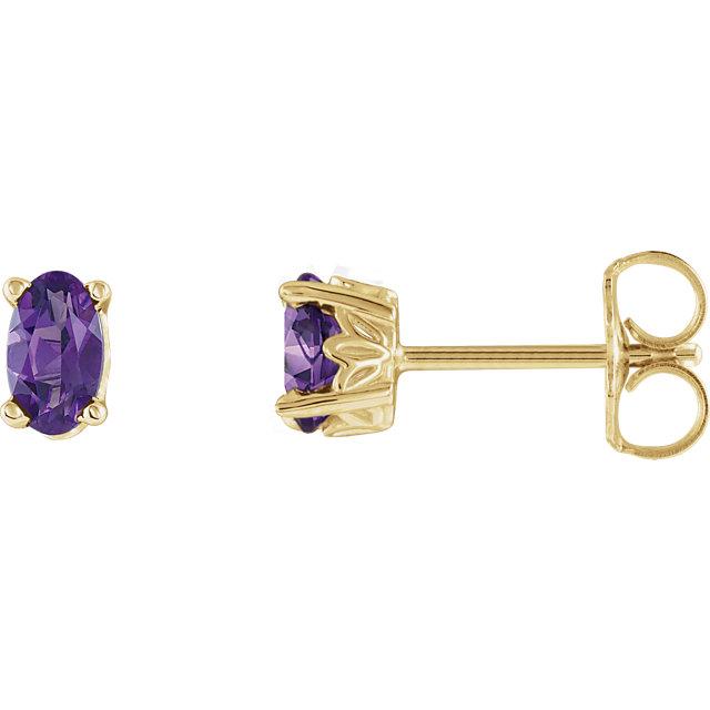 14K Yellow Amethyst Earrings