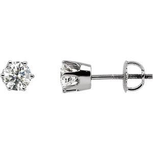 Earrings , 14K White 1 CTW Diamond Threaded Post Stud Earrings
