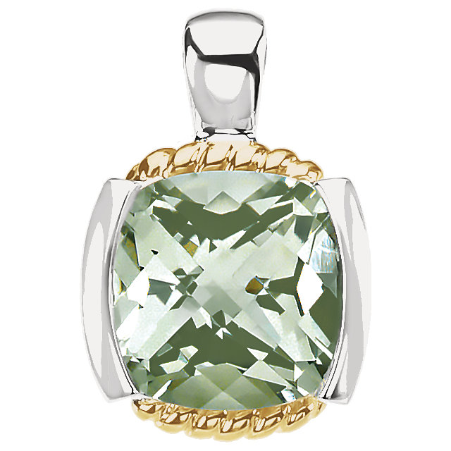 14K Yellow & Sterling Silver Green Quartz Pendant
