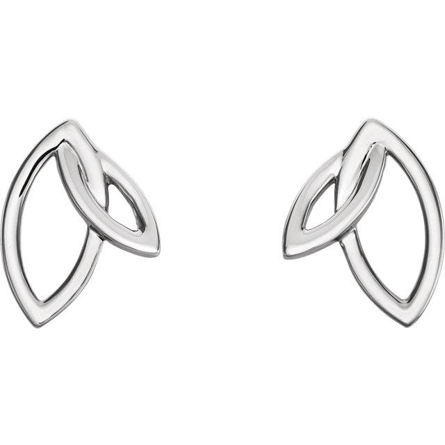 Sterling Silver Double Leaf Earrings