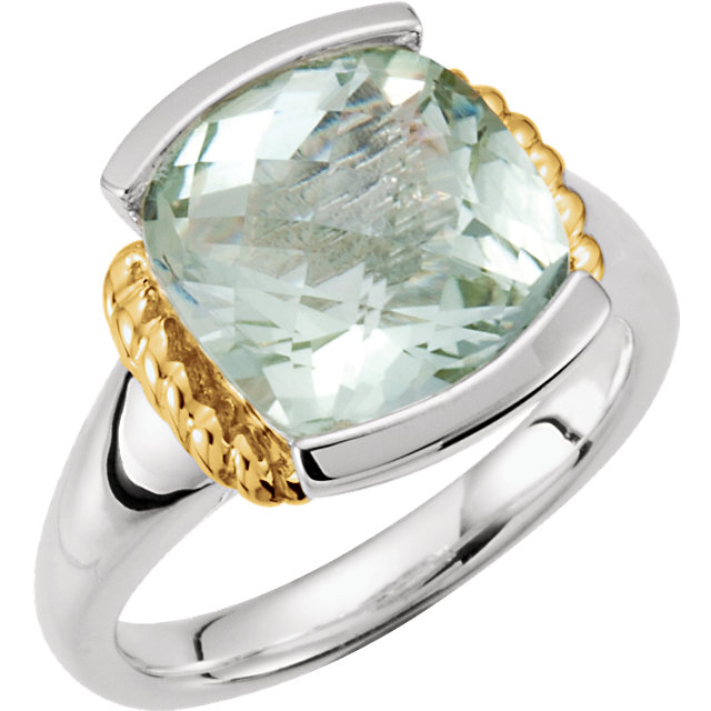 Sterling Silver & 14K Yellow Green Quartz Ring