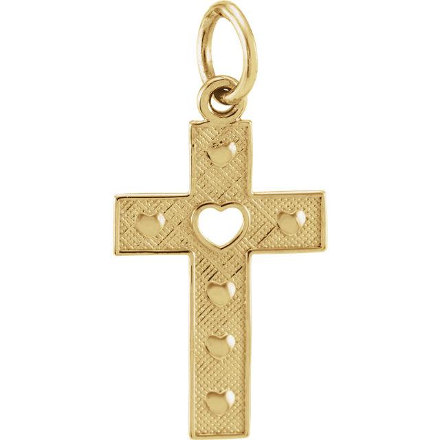 14K Yellow Pierced Heart Cross Pendant