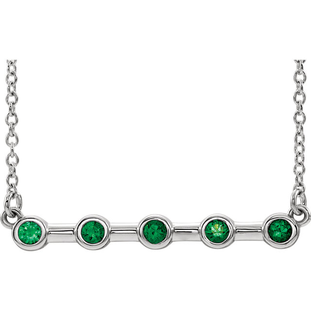 14K White Chatham® Created Emerald Bezel-Set Bar 16