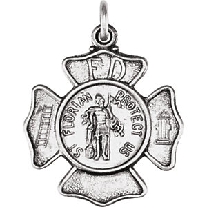 Sterling Silver 17mm St. Florian Pendant