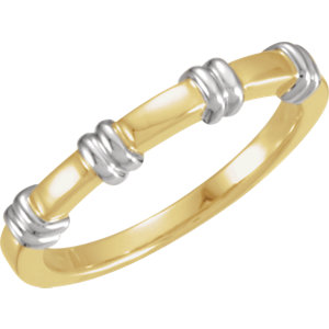14K Yellow & White 3.5mm Ladies Duo Band