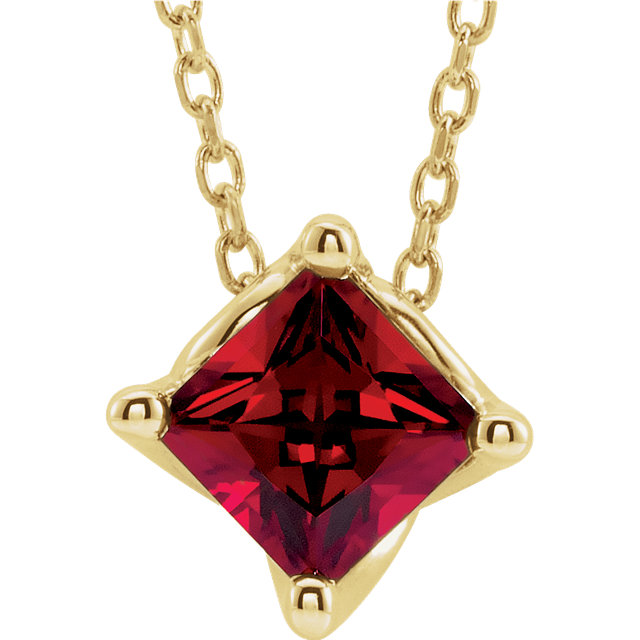 14K Yellow Chatham® Created Ruby Solitaire 16-18