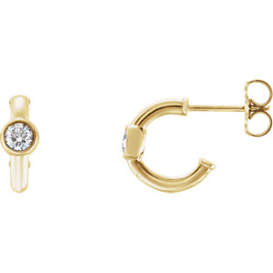 14K Yellow 1/5 CTW Diamond J-Hoop Earrings