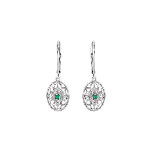 Sterling Silver Emerald Lever Back Earrings