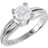 Design-Engraved Solitaire Engagement Ring