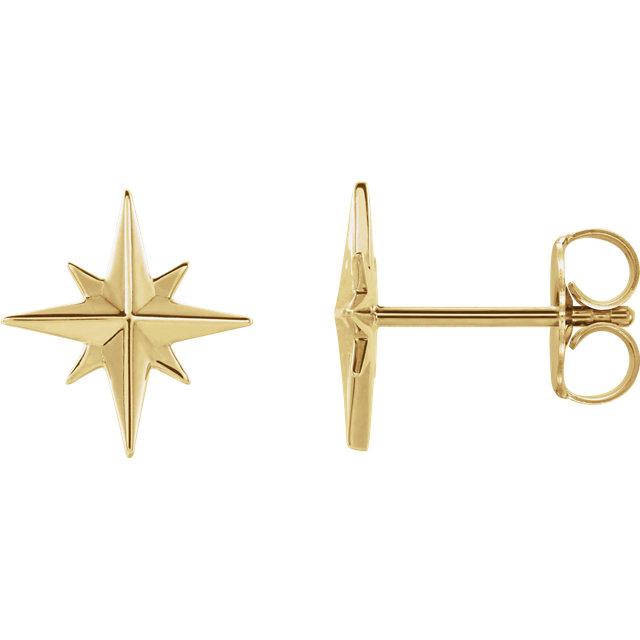 14K Yellow Star Earrings