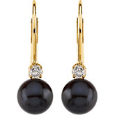 Akoya Cultured Pearl & Diamond Lever Back Earring