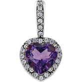 Heart 4-Prong Accented Halo-Style Pendant