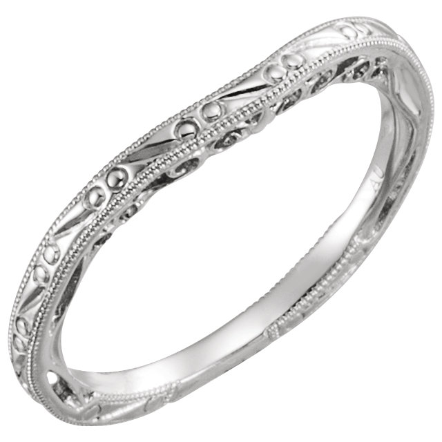 14K White Design-Engraved Band for 5.2mm Round Engagement Ring