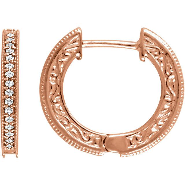 14K Rose 1/5 CTW Diamond Milgrain Hoop Earrings