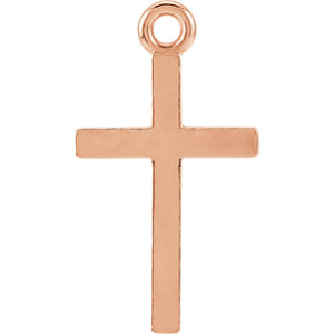 14K Rose Cross Charm