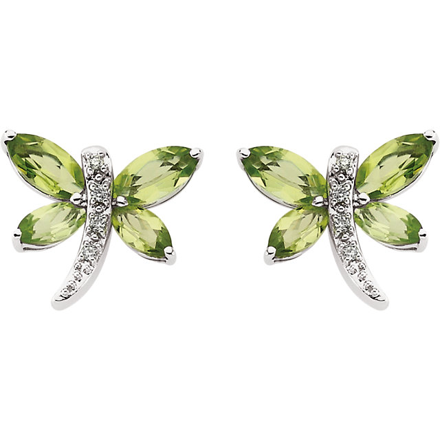 14K White Peridot & .04 CTW Diamond Earrings