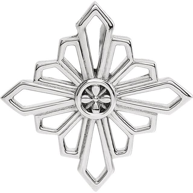 14K White 19.4x19.4 mm Vintage-Inspired Geometric Pendant
