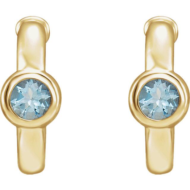 14K Yellow Aquamarine J-Hoop Earrings