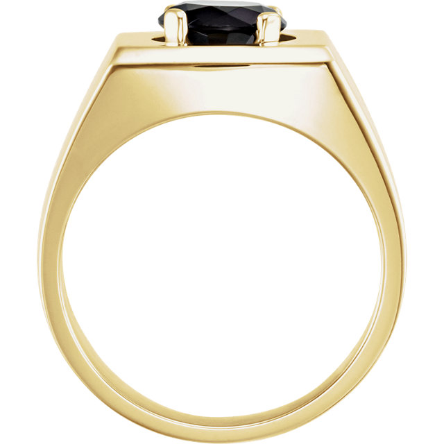 14K Yellow 8.2mm Round Onyx Men-s Ring