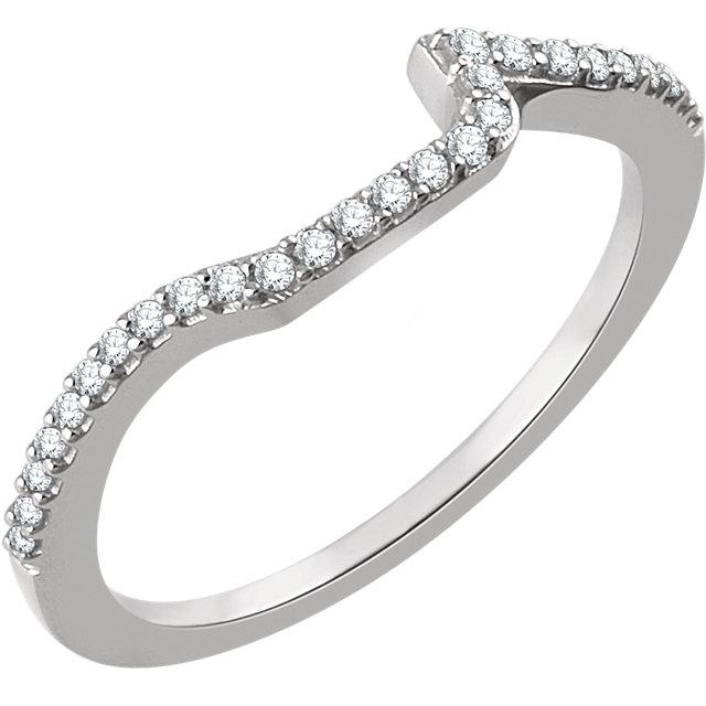 14K White 1/6 CTW Diamond Band for 5.5mm Square Ring