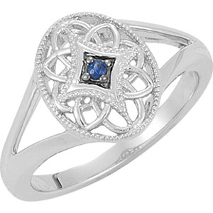 Sterling Silver 2mm Round Sapphire Ring Size 7