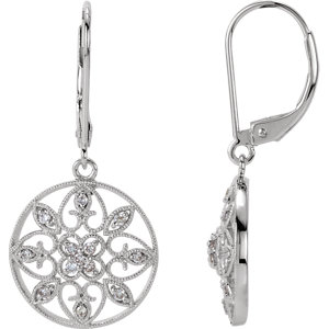 Earrings , 14K White 1/4 CTW Diamond Filigree Lever Back Earrings