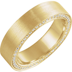 14K Yellow 6 mm 5/8 CTW Diamond Accented Band with Satin Finish Size 9.5