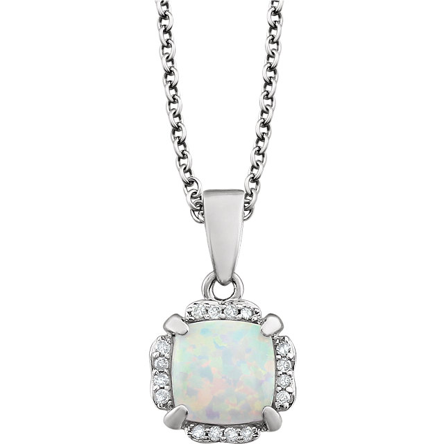 14K White Opal & .05 CTW Diamond 18